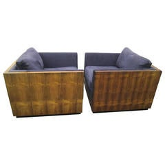 Spectacular Pair of Milo Baughman Rosewood Cube Chairs, Mid-Century Modern