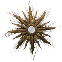 Unusual XL Brutalist Starburst Mirror Mid-century Modern