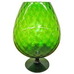 Large-Scale Viking Art Green Glass Brandy Snifter