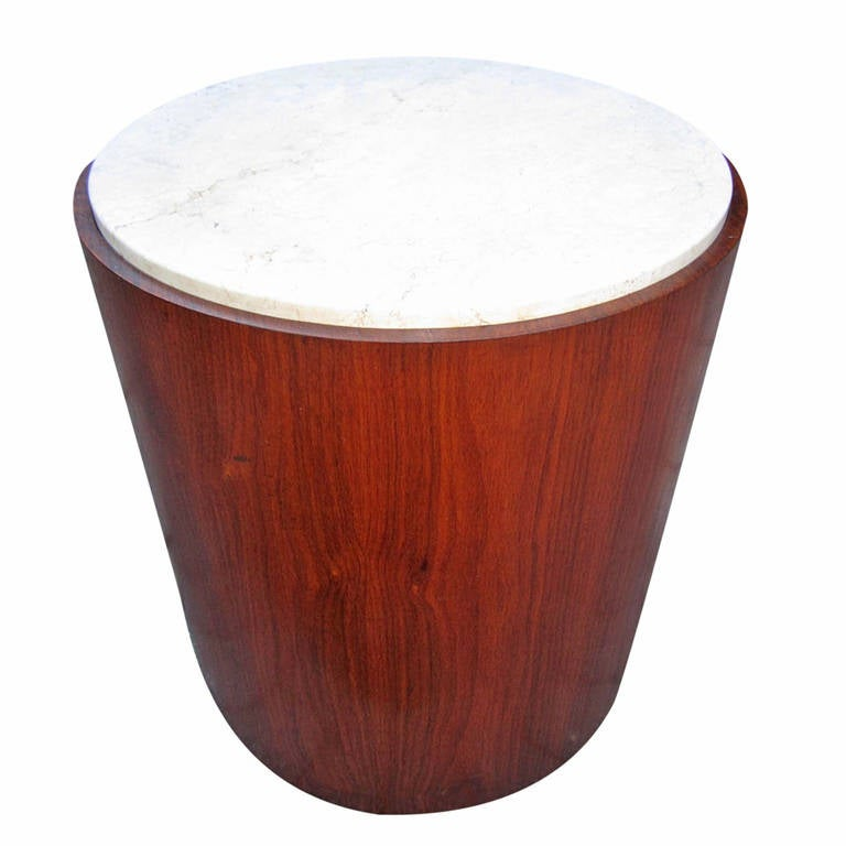 Excellent Probber Style Walnut Cylinder, Marble Top Drum Table 1