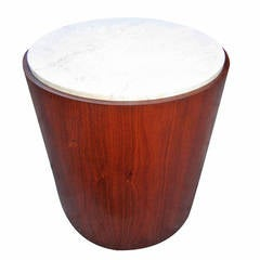 Excellent Probber Style Walnut Cylinder, Marble-Top Drum Table