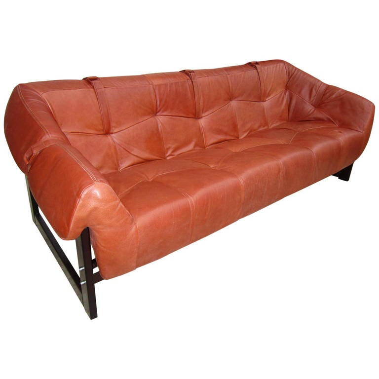 Percival Lafer Rosewood And Distressed Tufted Yellow: Mid-Century Brazilian Rosewood And Leather Sofa Percival