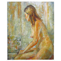 Female Nude Oil Painting by Schiavone Mid-Century Modern