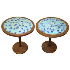 Pair of Gordon Martz Attributed Tile-Top Spool Tables Mid-Century Modern