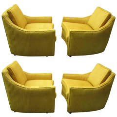 Excellent Pair of Harvey Probber Style Swivel Lounge Chairs Mid-Century Modern