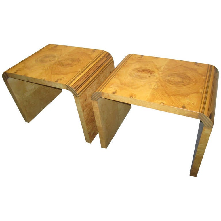Handsome Pair Henredon Scene 2 Olive Wood Stools End Tables Mid-century Modern