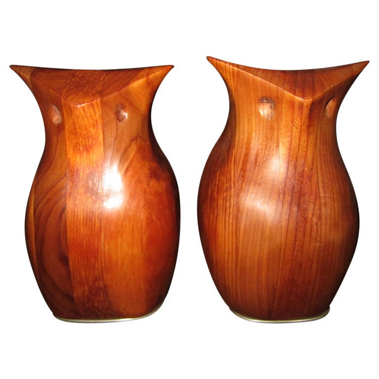 Whimsical Pair of Walnut Signed Deborah Bump Owl Bookends Mid-Century Modern For Sale