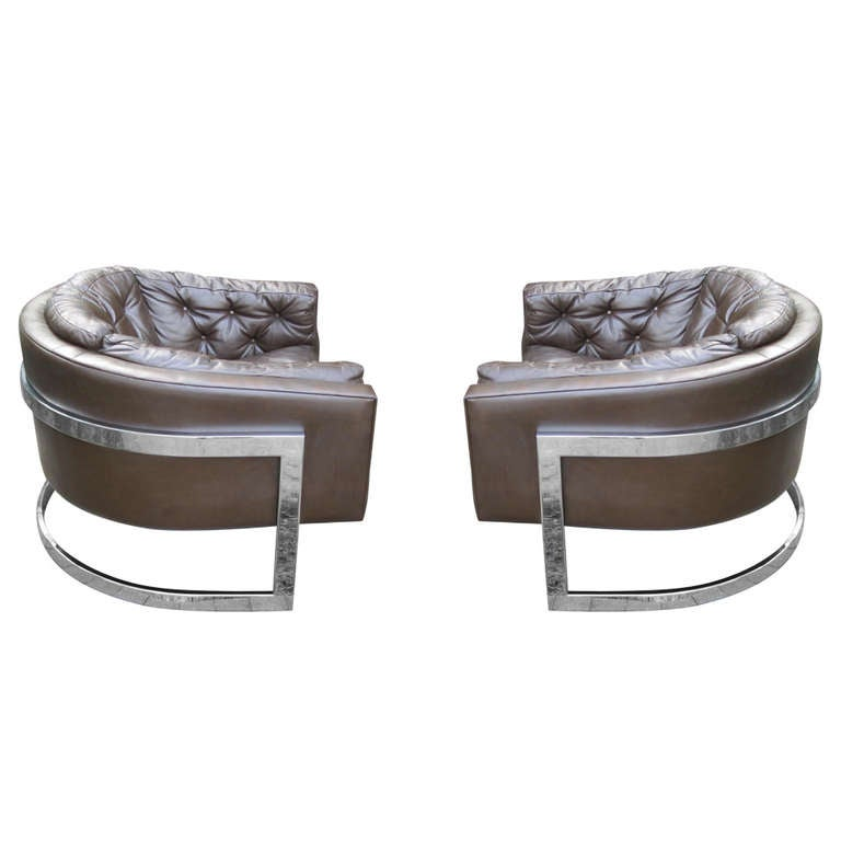 Rare huge milo baughman chrome cantilevered barrel chairs at 1stdibs