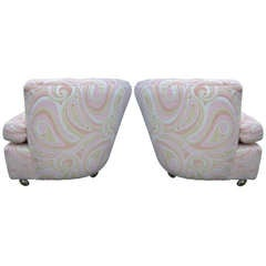 Wonderful Pair Pucci Barrel Back Rolling Milo Baughman Style Lounge Chairs