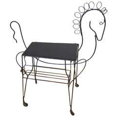 Whimsical Horse Rolling Serving Bar Cart by Frederick Weinberg