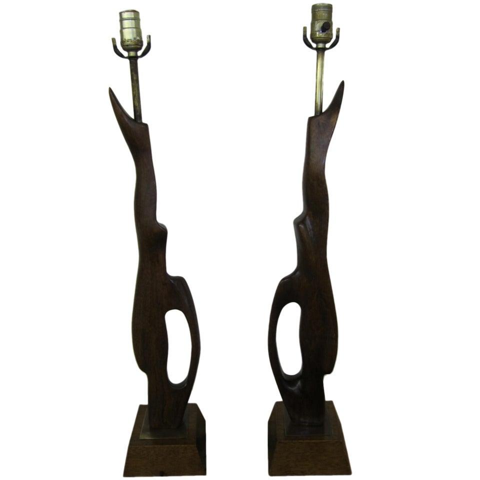 Pair of Abstract Sculptural Walnut Lamps Mid-century Danish Modern