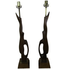 Pair of Abstract Sculptural Walnut Lamps Mid-century Danish Modern