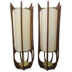 Pair of Sculptural Walnut Tall Lamps Mid-century Danish Modern