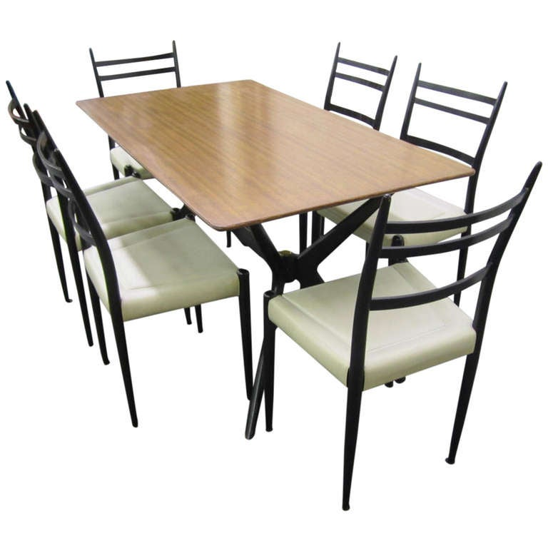 Italian Gio Ponti Style Jax Base Dining Table 6 Chairs Mid