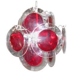 Lovely Petite Vistosi Red Lucite Disk Chandelier Mid-Century Modern