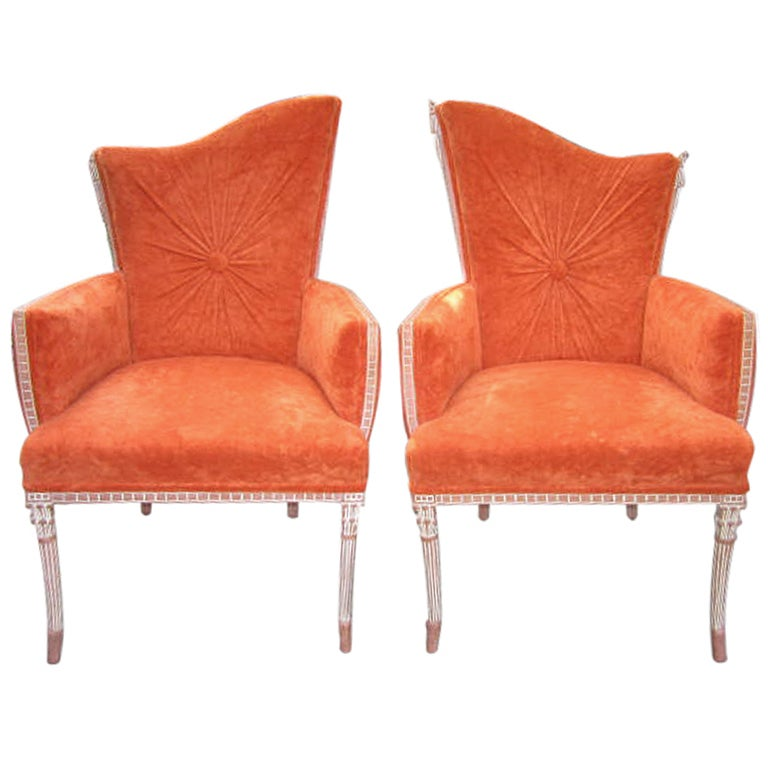 Pair Hollywood Regency Modern Orange Velvet Arm Chairs At