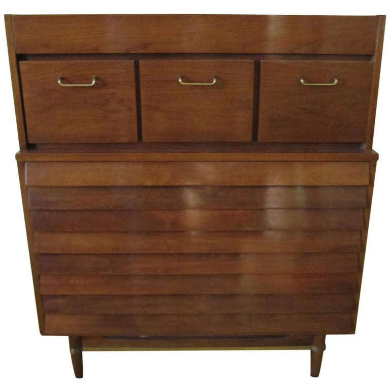 American Martinsville High Boy Walnut Dresser Chest Mid-century Modern For Sale