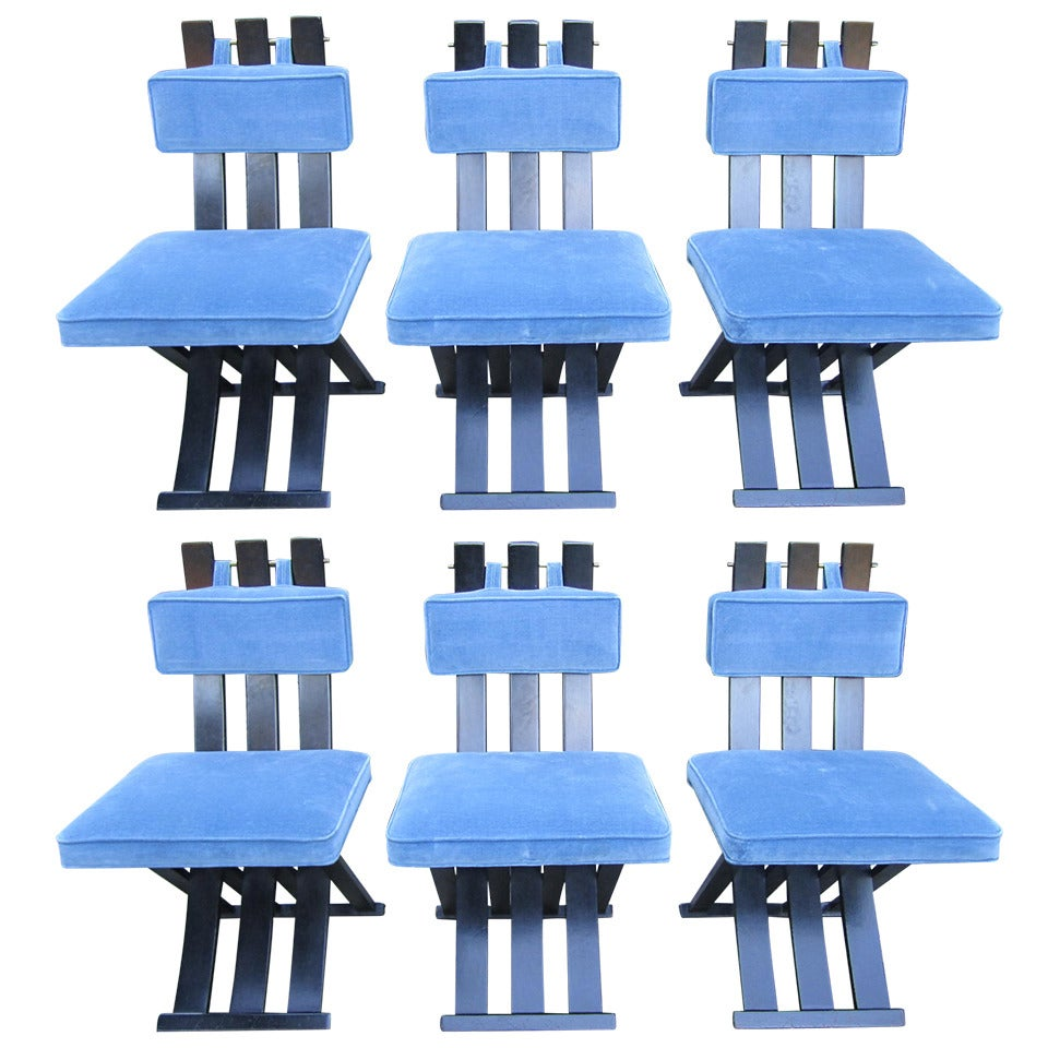 Set of Six Harvey Probber Ebonized X-Base Dining Chairs, Mid-Century Modern
