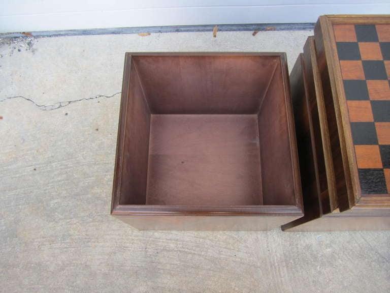 Mid Century Modern Unusual Pair Of Lane Walnut Game Cube Storage Stools  Mid Century