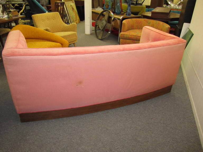Unusual Harvey Probber Style Curved Sofa Plinth Base Mid