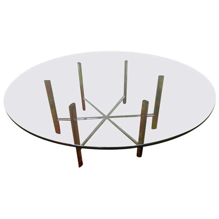 Mid Century Modern Small Round Coffee Table At 1stdibs: Gorgeous Milo Baughman Style Chrome Round Coffee Table Mid