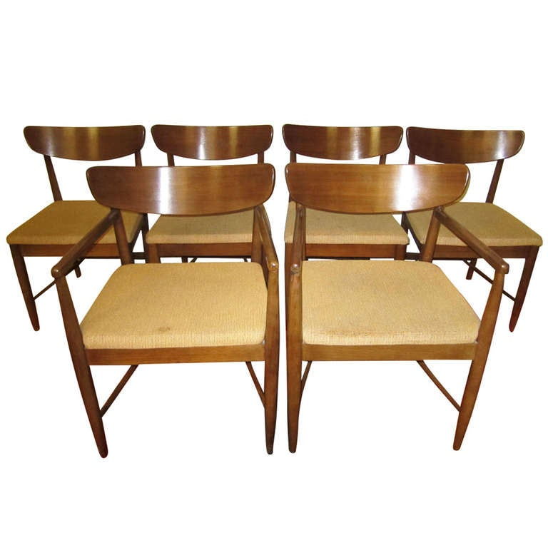 Excellent set 6 american of martinsville walnut dining for Mid century american furniture