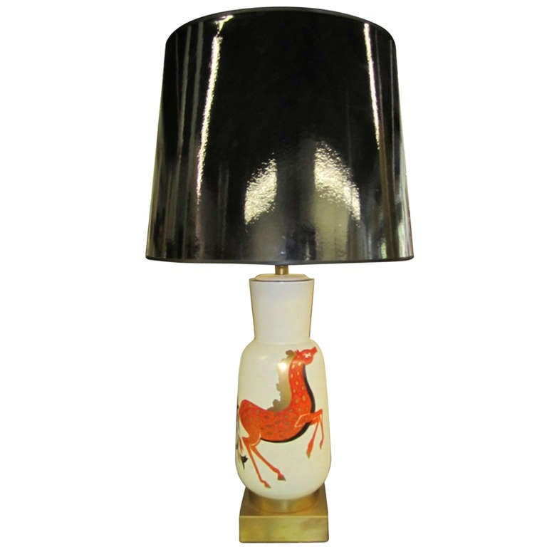Whimsical Italian 1950's Hand Painted Horse Lamp Mid-century Modern