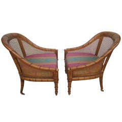 Lovely Pair of Widdicomb Caned Scoop Chairs Hollywood Regency