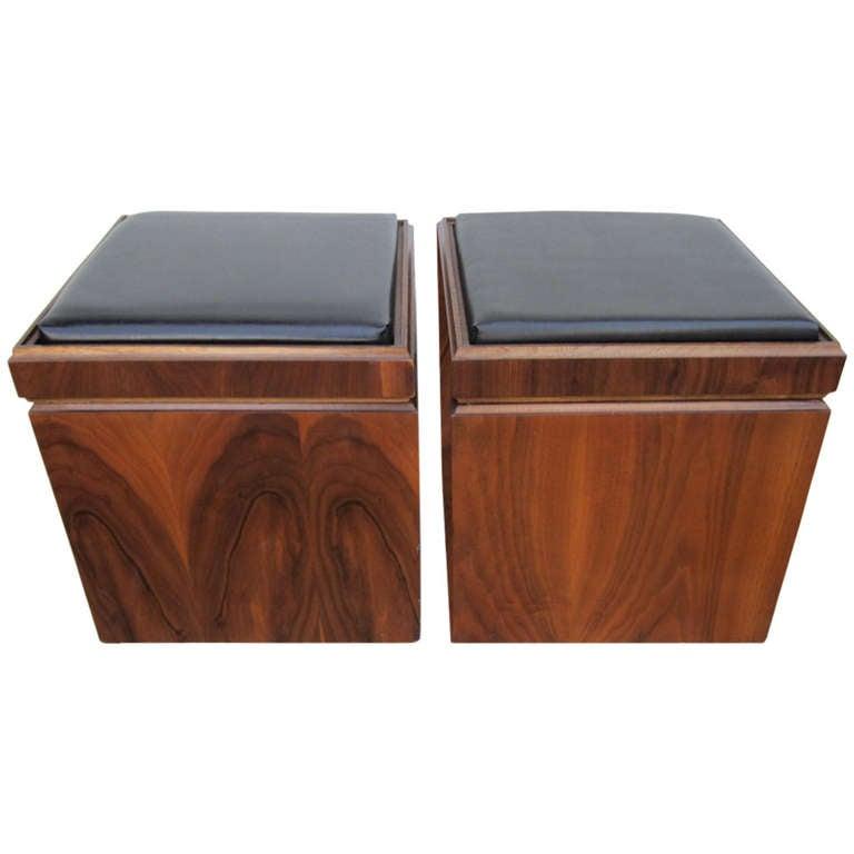 Unusual Pair Of Lane Walnut Game Cube Storage Stools Mid Century Modern For  Sale