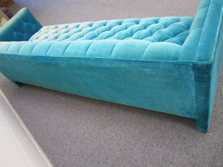 Lovely Mid Century Modern Turquoise Tufted Tuxedo Sofa At 1stdibs