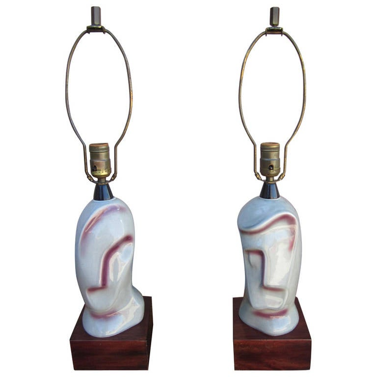 Unusual Pair of Heifetz Ceramic Cubism Male Female Lamps Mid-century Modern
