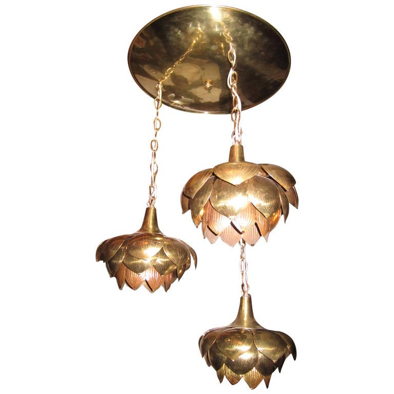 Three Lotus Flower Brass Pendant Chandelier, Mid-Century Modern Feldman