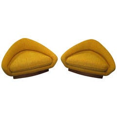 Extremely Rare Pair of Triangular Shaped Vladimir Kagan Style Lounge Chairs