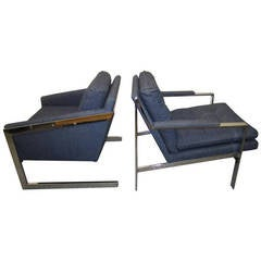 Pair of Milo Baughman style Matched Mismatched Chrome Lounge Chairs