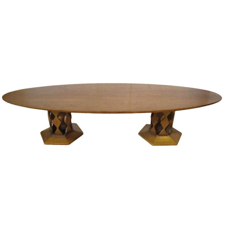 Unusual Large Surfboard Top Double Pedestal Coffee Table Mid Century Modern For Sale At 1stdibs