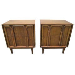 Lovely Pair Lattice Front Walnut Night Stands Mid-century Modern