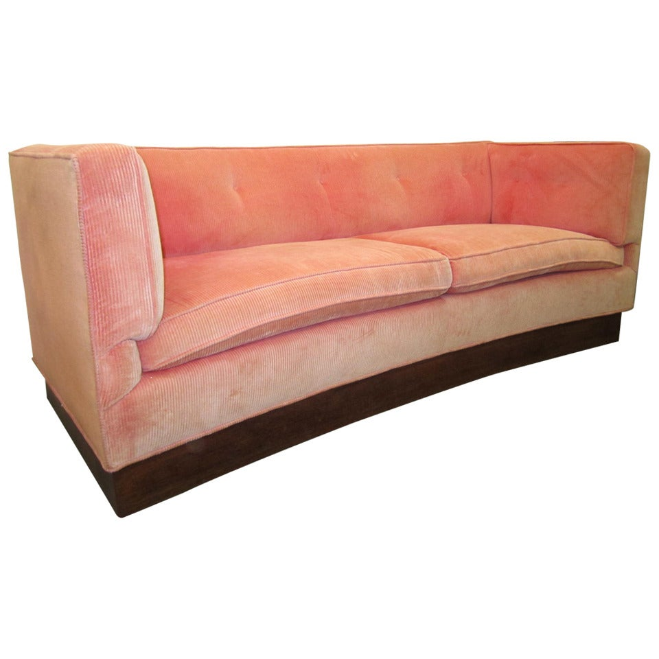 Unusual Sofas For Sale: Unusual Harvey Probber Style Curved Sofa Plinth Base Mid