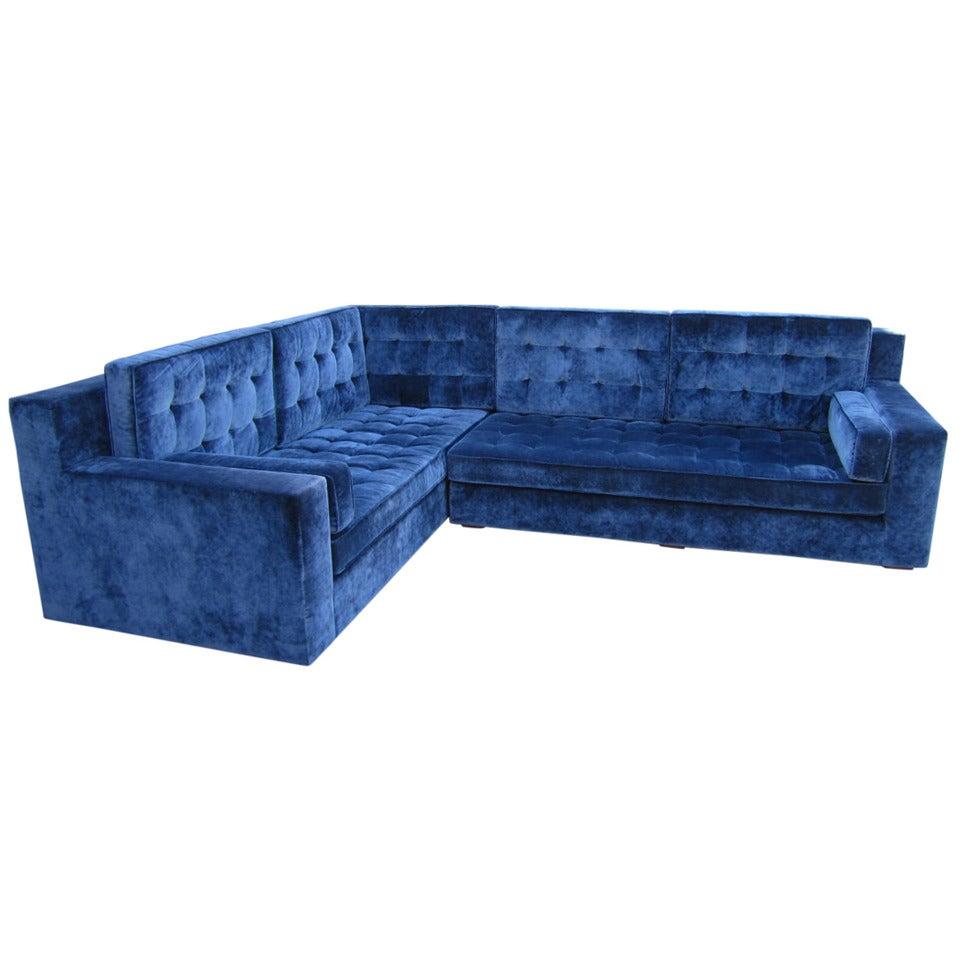Stunning large scale harvey probber style sectional sofa for Mid century style sectional sofa