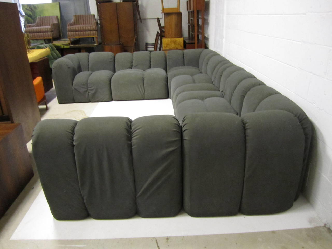 paul evans sofa mid century modern seven piece signed paul e