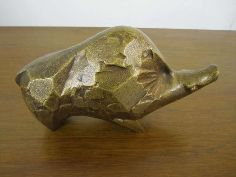Mid-Century Modern Whimsical Brutalist Style Warty the Warthog Paperweight Mid-century Modern For Sale