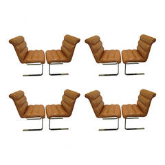 Set of Eight Mariani Laguna Leather and Chrome Pace Collection Dining Chairs
