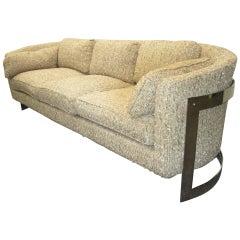 Mid-Century Modern Fabulous Milo Baughman Style Curved Chrome Bar Sofa