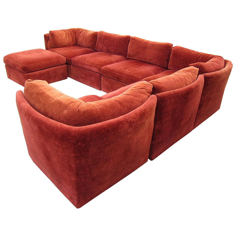 Curved Seven Piece Signed Milo Baughman Sectional Sofa Mid Century Modern At 1stdibs