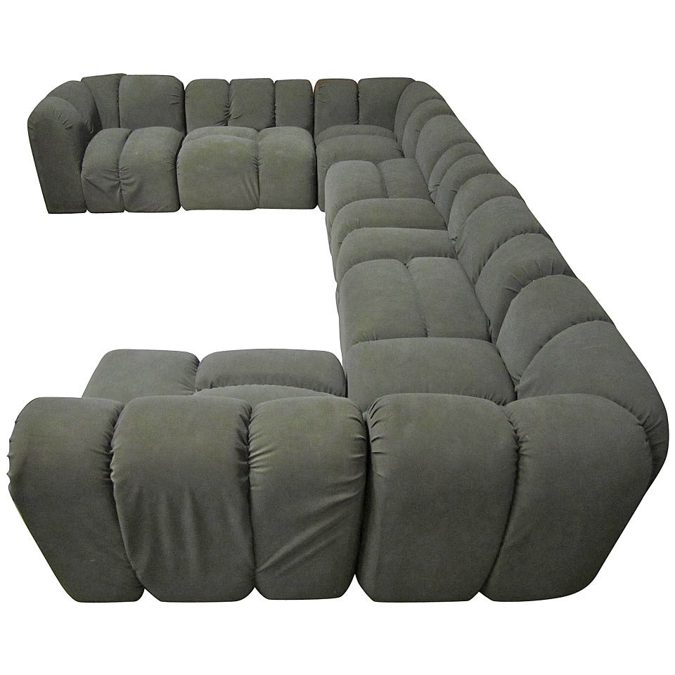 Mid century modern seven piece signed paul evans sectional sofa for sale