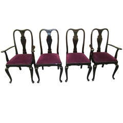 Gorgeous Set of 4 Black Lacquered Dining Chairs Regency Modern