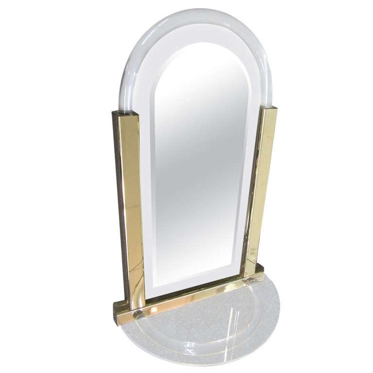 Stunning Hollywood Modern Console Mirror Lucite Hollis Jones Inspired For Sale
