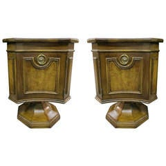 Handsome Pair of Mastercraft Walnut Pedestal Base End Tables