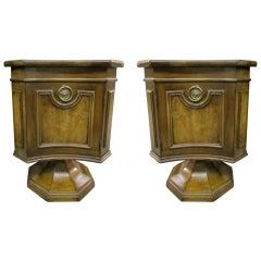 Handsome Pair of Mastercraft Walnut Pedestal Base End Tables