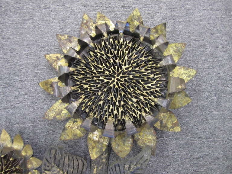 Amazing C Jere Large Scale Sunflower Wall Sculpture Mid