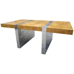 Magnificent Signed Paul Evans Burled Wood and Chrome Cityscape Dining Table